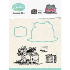 HDCS002 - Nellie's Choice Holiday Die cut & clearstamp set bus 02 70x47mm/28x23mm