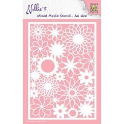 MMSA6-006 - Mixed media stencils A6 size Flowers