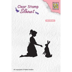SIL061 - Silhouet Clear stamps 'girl with hare'