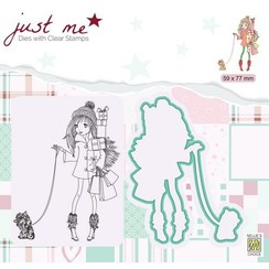 JMSD005 - Metal dies + Clear stamps - Just Me - Christmas shopping