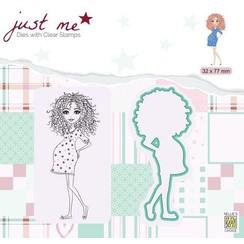 JMSD007 - Metal dies + Clear stamps - Just Me - Pregnant