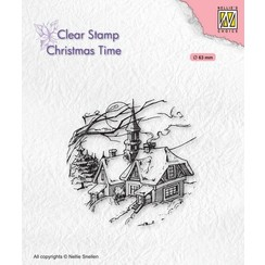 CT038 - Clear Stamps, Christmas time Snowy Christmas scene
