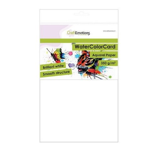 CraftEmotions 001286/3330 - CraftEmotions WaterColorCard - briljant wit 10 vl A5 - 350 gr