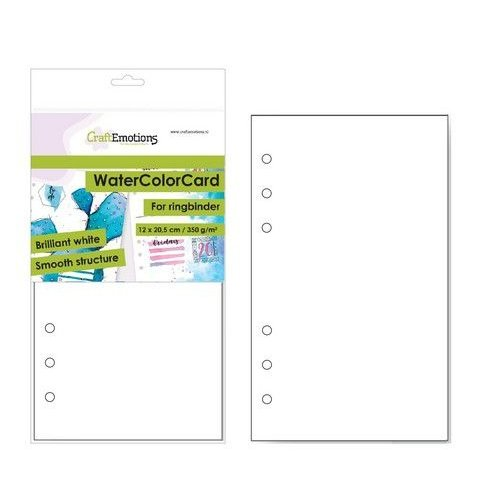 CraftEmotions 001286/3485 - CraftEmotions WaterColorCard - bril. Ringband wit 10 vl 12x20,5cm - 350 gr - 6 Ring A5