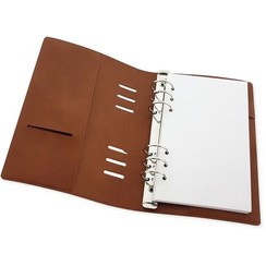 col. A158-02 A5 - CraftEmotions Ringband Planner - voor papier 120x210mm - Cognac bruin PU leather - Paper not included