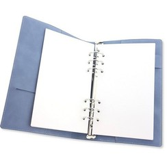 col. A158-15 A5+3cm wider - CraftEmotions Ringband Planner - voor papier A5-148x210mm - Jeans – lichtblauw PU leather - Paper not included