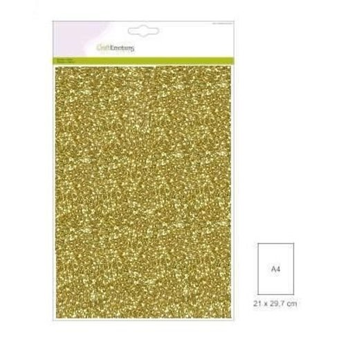 CraftEmotions FW1/0121 - CraftEmotions glitterpapier 5 vel goud +/- 29x21cm 120gr