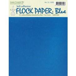 51.1093 - LeCrea - Flock paper blauw self-adhesive 15x15 cm 10 vellen 93
