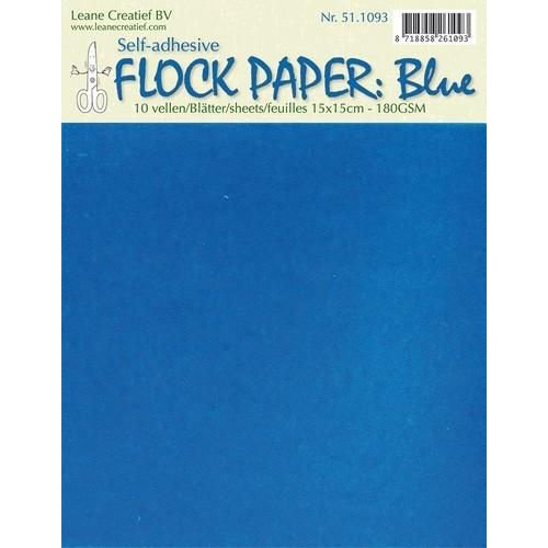 Leane Creatief 51.1093 - LeCrea - Flock paper blauw self-adhesive 15x15 cm 10 vellen 93