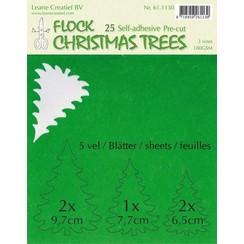 61.1130 - LeCrea - Flock paper Xmas trees groen 25 pre-cut & adhesive 30