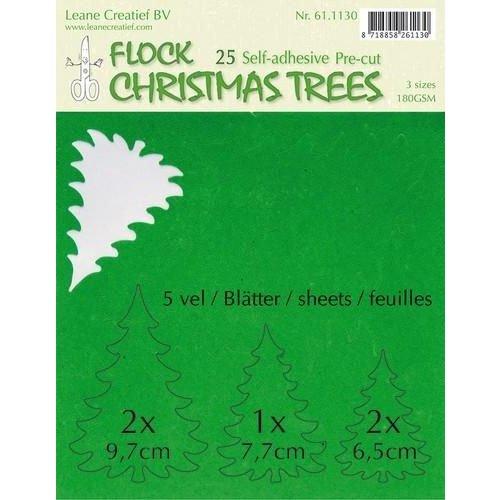 Leane Creatief 61.1130 - LeCrea - Flock paper Xmas trees groen 25 pre-cut & adhesive 30