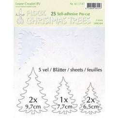61.1147 - LeCrea - Flock paper Xmas trees wit,  25 pre-cut & adhesive 47