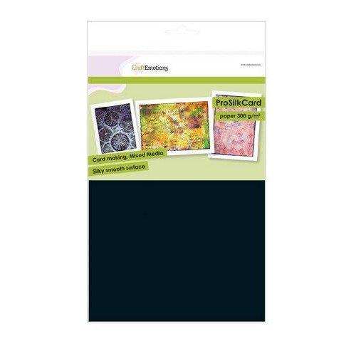 CraftEmotions 01-0201-0079 - CraftEmotions ProSilkCard - luxe glad karton zwart 10 vl A4 - 300 gr