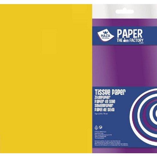185905 - Haza Zijdevloeipapier geel 18gr 5VL 50x70cm 5