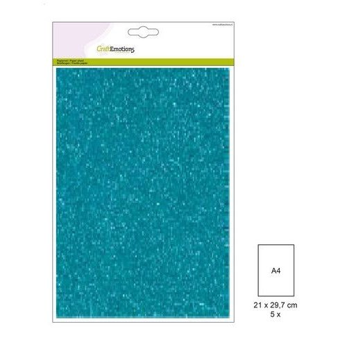 CraftEmotions 220gr FW1/0023 - CraftEmotions glitterpapier 5 vel turquoise +/- 29x21cm 120gr