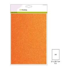 220gr FW1/3091 - CraftEmotions glitterpapier 5 vel neon oranje +/- 29x21cm 120gr