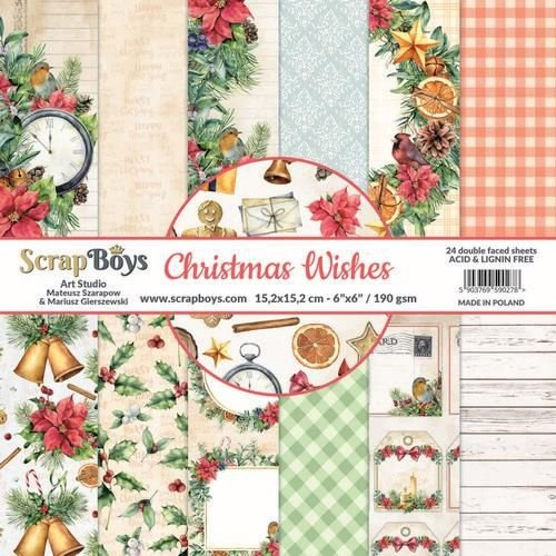 ScrapBoys CHWI-09 - ScrapBoys Christmas Wishes paperpad 24 vl+cut out elements-DZ CHWI-09 190gr 15,2 x 15,2cm