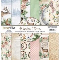 WITI-09 - ScrapBoys Winter Time paperpad 24 vl+cut out elements-DZ WITI-09 190gr 15,2 x 15,2cm