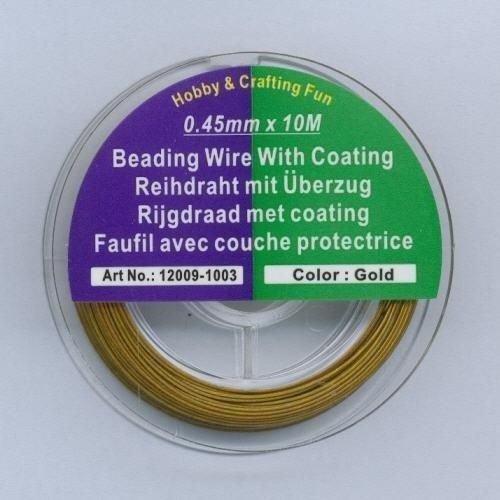 12009-1003 - Staaldraad nyl.coat goudkleur 0,45 mm 10 MT -1003