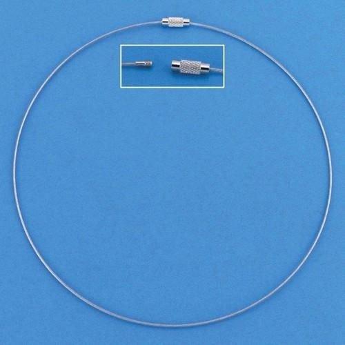 12119-1901 - Draad collier draaislot zilverkleur 45 cm 3 ST -1901