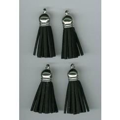 12312-1201 - Tassel with cap, faux suede, black/ silver, 3 cm, 4 pcs
