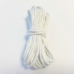 12368-6801 - Waxed katoen koord rond 2 mm wit 5m -6801