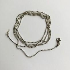 12260-6001 - Balletjes ketting met karabijnsluiting platinum -6001 1,6mmx80cm