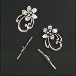 11808-1741 - Sluiting - Bar & flower ring platinum 2ST -1741