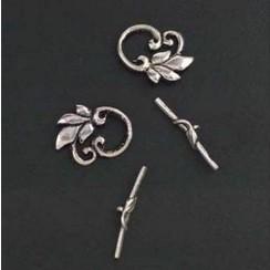11808-1743 - Sluiting - Bar & flower ring platinum 2ST -1743
