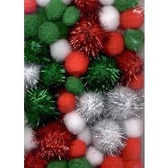 12233-3302 - Mix PomPom Set kerstkleuren incl glitter 50 ST 2, 2.5, 3.5cm -3302