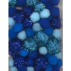 12233-3303 - Mix PomPom Set blauw incl glitter 50 ST 2 cm, 2.5 cm, 3.5 cm -3303