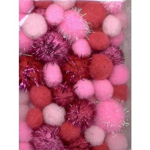 12233-3304 - Mix PomPom Set roze incl glitter 50 ST  2 cm, 2.5 cm, 3.5 cm -3304