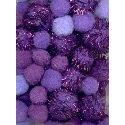 12233-3306 - Mix PomPom Set paars incl glitter 50 ST 2 cm, 2.5 cm, 3.5 cm -3306