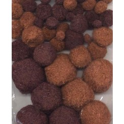 12233-3316 - Mix PomPom Set bruin tinten 50 ST 1.0 - 1.5 - 2.0 - 2.5 cm  -3316