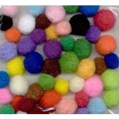 12233-3321 - Mix PomPom Set assortiment kleuren 48 ST   1.5 cm - 2.0 cm