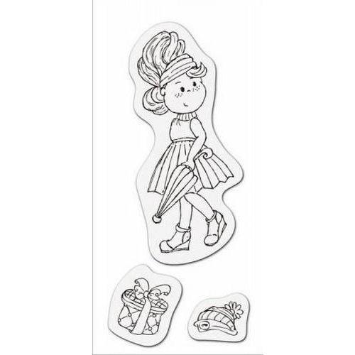 001883/3704 - Clear stamp Meisje met paraplu 8 x 16cm