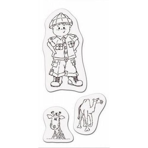 001883/3705 - Clear stamp Jongen op safari 8 x 16cm