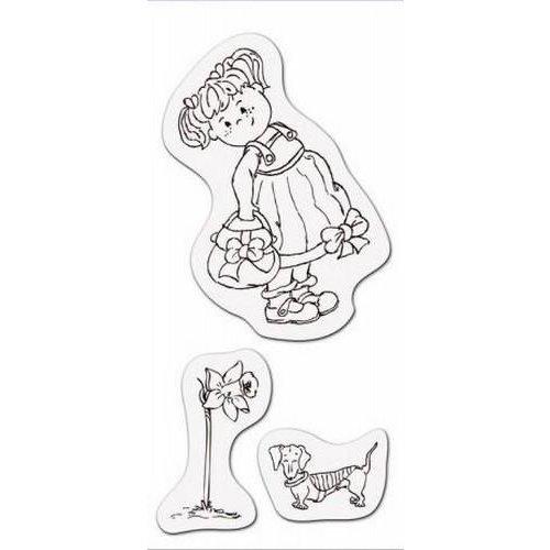 001883/3706 - Clear stamp Meisje met tas 8 x 16cm