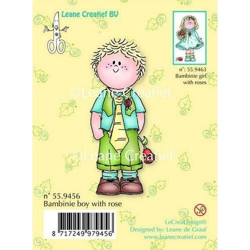Leane Creatief 55.9456 - LeCrea - Clear stamp Bambinie boy with rose 56