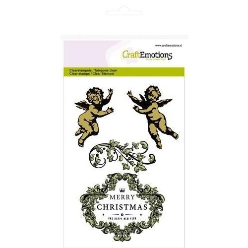 CraftEmotions CRE0043 - CraftEmotions clearstamps A6 - engeltjes ornament label Purple Holiday
