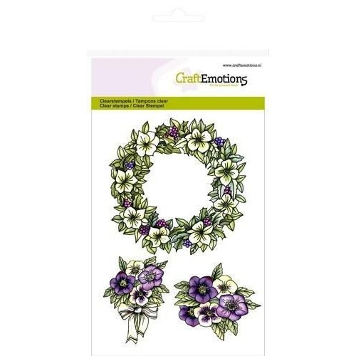 CraftEmotions 130501/1055 - CraftEmotions clearstamps A6 - Bloemenkrans Purple Holiday