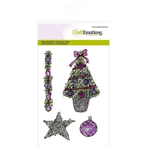 CraftEmotions 130501/1056 - CraftEmotions clearstamps A6 - Kerstboom, ster Purple Holiday