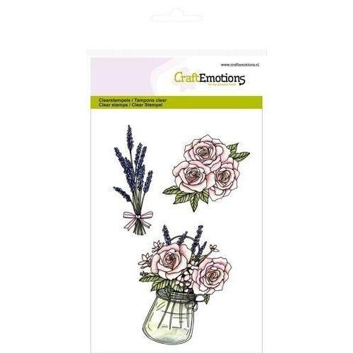 CraftEmotions 130501/1063 - CraftEmotions clearstamps A6 - Pot met rozen en lavendel High Tea Rose