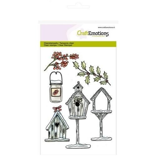 CraftEmotions CRE0110 - CraftEmotions clearstamps A6 - Vogelhuisjes Home for Christmas