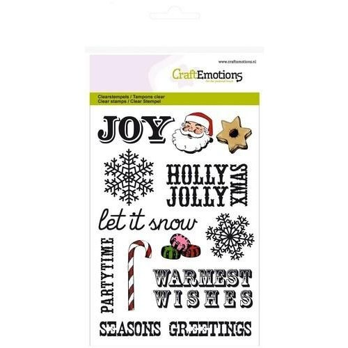CraftEmotions CRE0113 - CraftEmotions clearstamps A6 - kersttekst UK, decoraties Sweet Vintage Christmas
