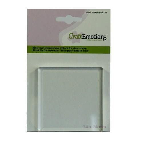 CraftEmotions 130501/1912 - CraftEmotions blok voor clearstempel 74x74mm - 8mm