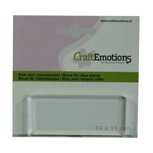 CraftEmotions 130501/1913 - CraftEmotions blok voor clearstempel 74x31mm - 8mm