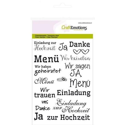 CraftEmotions CRE0104 - CraftEmotions clearstamps A6 - tekst DE Hochzeit