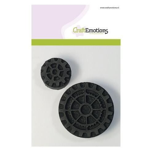 CraftEmotions 494.903.001 - CraftEmotions Foam stamps tandwiel groot en klein 2 65mm - 35mm