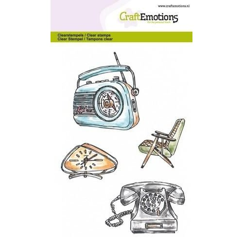 CraftEmotions CRE0196 - CraftEmotions clearstamps A6 - Vintage radio, klok